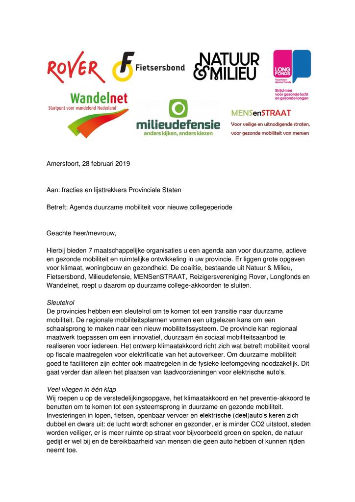 Voorbeeld van de eerste pagina van publicatie 'Brief aan Provinciale Staten over duurzaam verkeer'