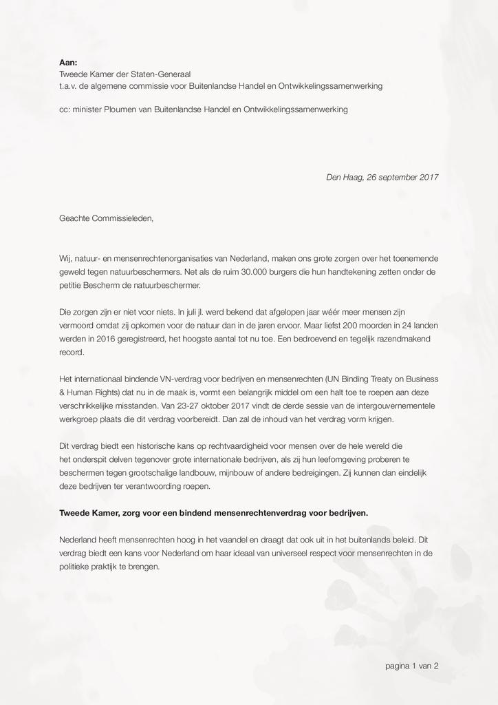 Voorbeeld van de eerste pagina van publicatie 'Brief inzake geweld tegen natuurbeschermers'