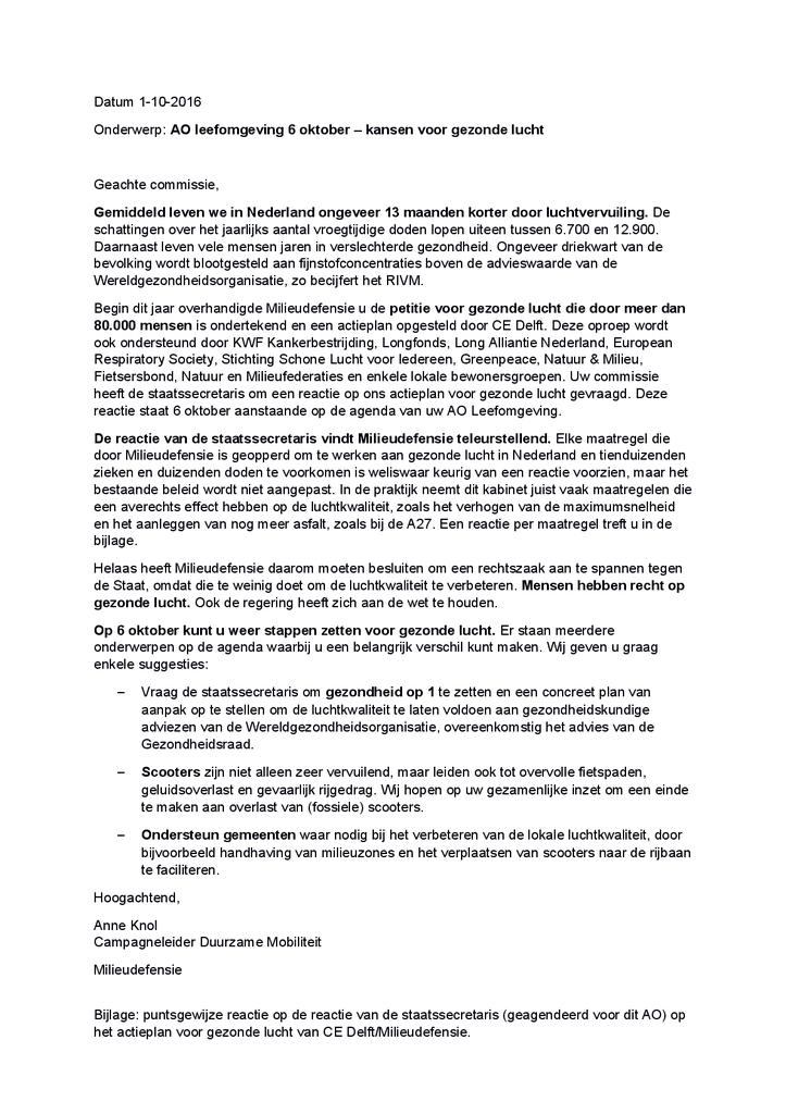Voorbeeld van de eerste pagina van publicatie 'Brief: kansen voor gezonde lucht'