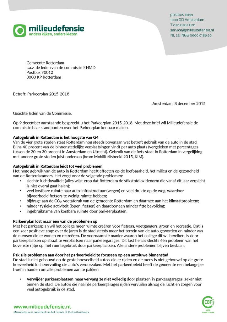 Voorbeeld van de eerste pagina van publicatie 'Brief met inspraakreactie op parkeerplan 2015-2018 Rotterdam'