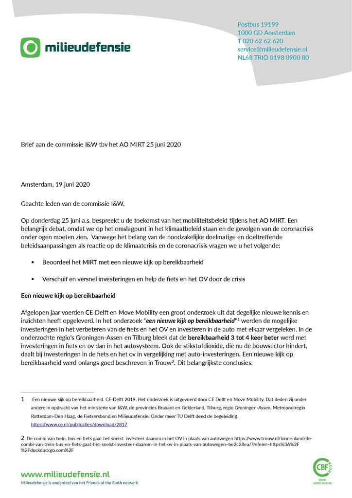 Voorbeeld van de eerste pagina van publicatie 'Brief aan de Tweede Kamer over de toekomst van het mobiliteitsbeleid'