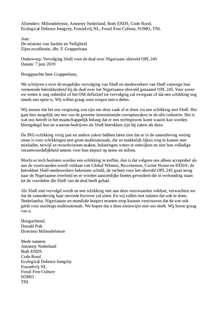 Voorbeeld van de eerste pagina van publicatie 'Brief: geen schikking, maar vervolging van Shell voor corruptie'