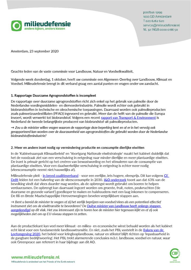 Voorbeeld van de eerste pagina van publicatie 'Inbreng Milieudefensie AO Landbouw, Klimaat en Voedsel'