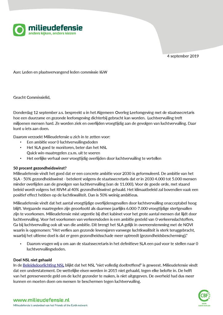 Voorbeeld van de eerste pagina van publicatie 'Brief aan Algemeen Overleg Leefmilieu over luchtvervuiling'