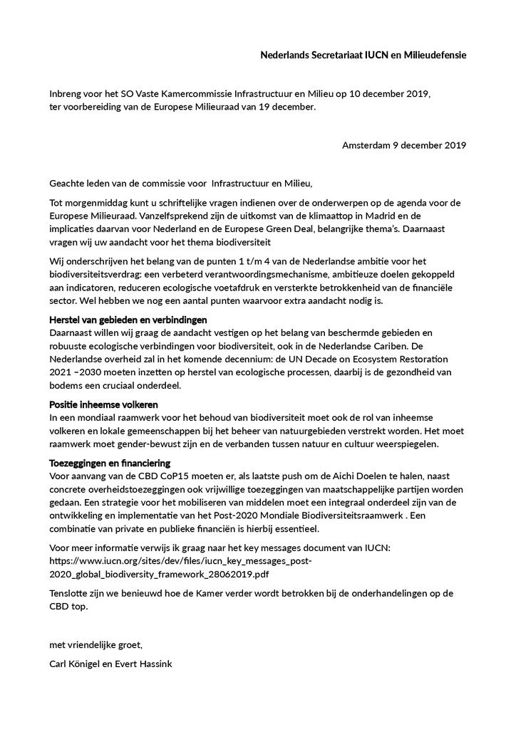 Voorbeeld van de eerste pagina van publicatie 'Brief aan de Milieuraad over de uitkomsten van de klimaattop in Madrid'