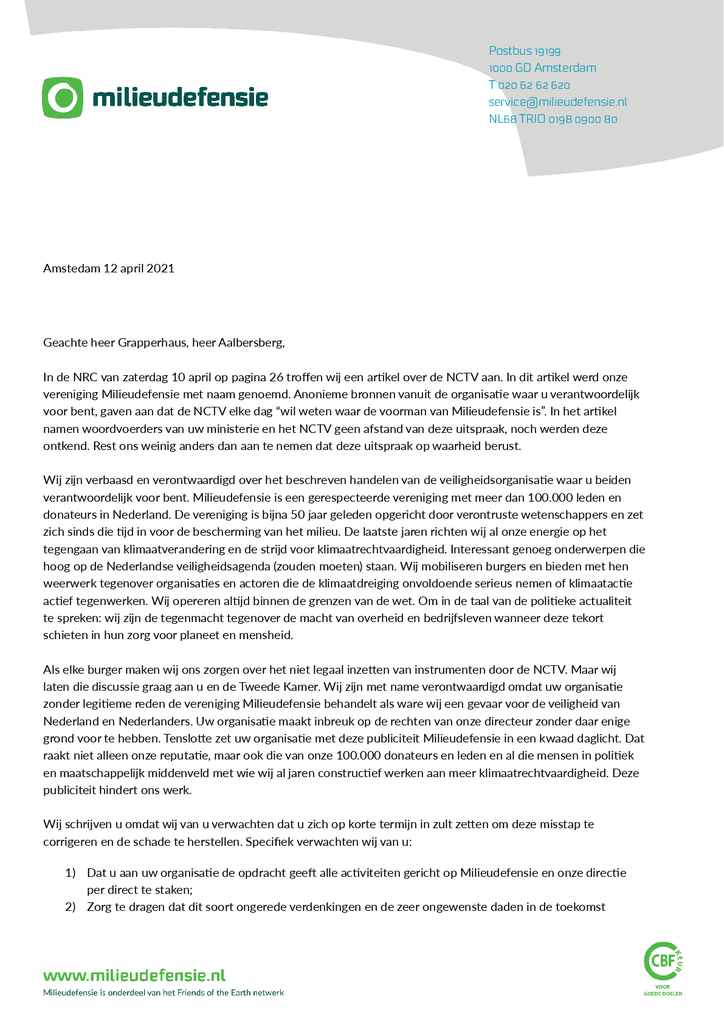 Voorbeeld van de eerste pagina van publicatie 'Brief van onze voorzitter aan het ministerie van Justitie en aan het NCTV'