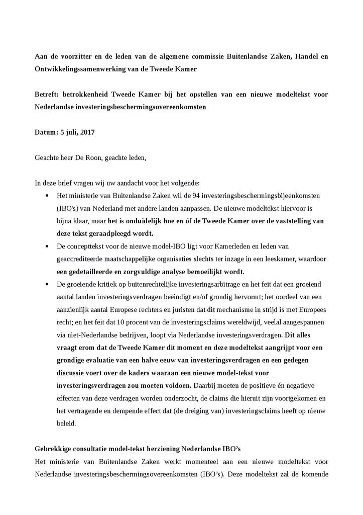 Voorbeeld van de eerste pagina van publicatie 'Brief aan Tweede Kamer over modeltekst voor Nederlandse investeringsverdragen'