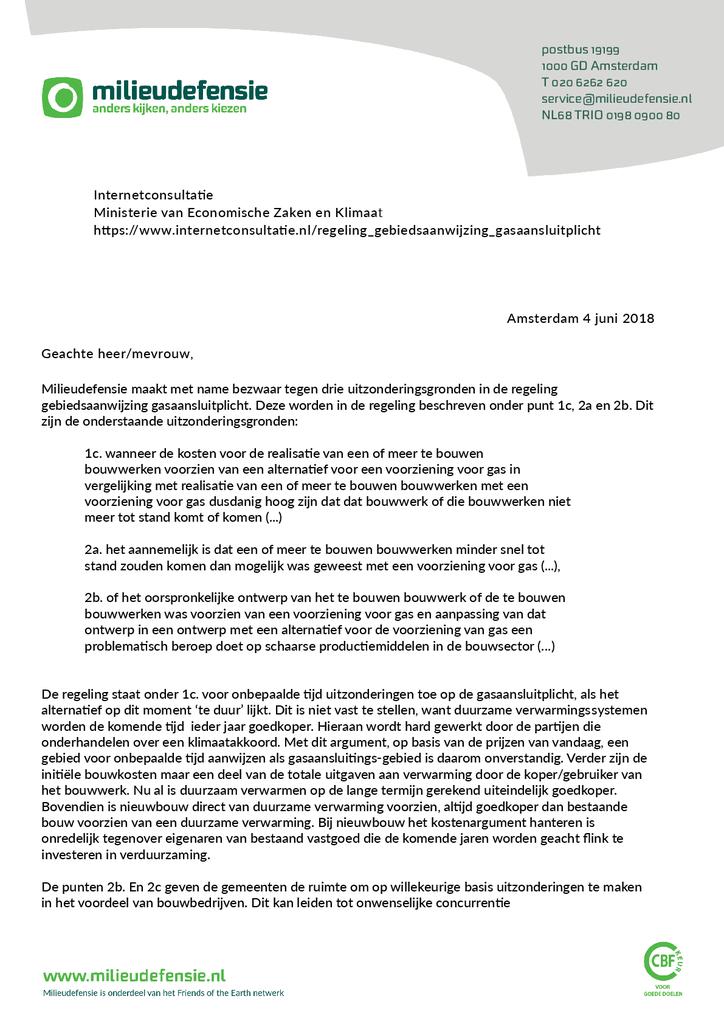 Voorbeeld van de eerste pagina van publicatie 'Brief over gasaansluitplicht aan ministerie EZK'