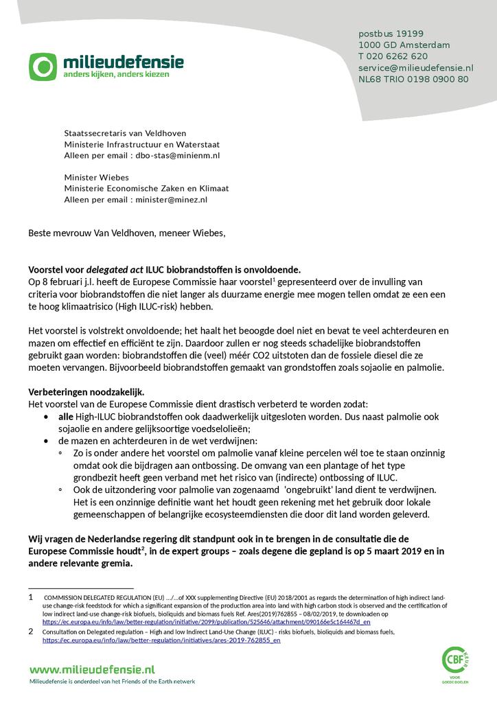 Voorbeeld van de eerste pagina van publicatie 'Brief over wetsvoorstel van de Europese Commissie met criteria voor biobrandstoffen'