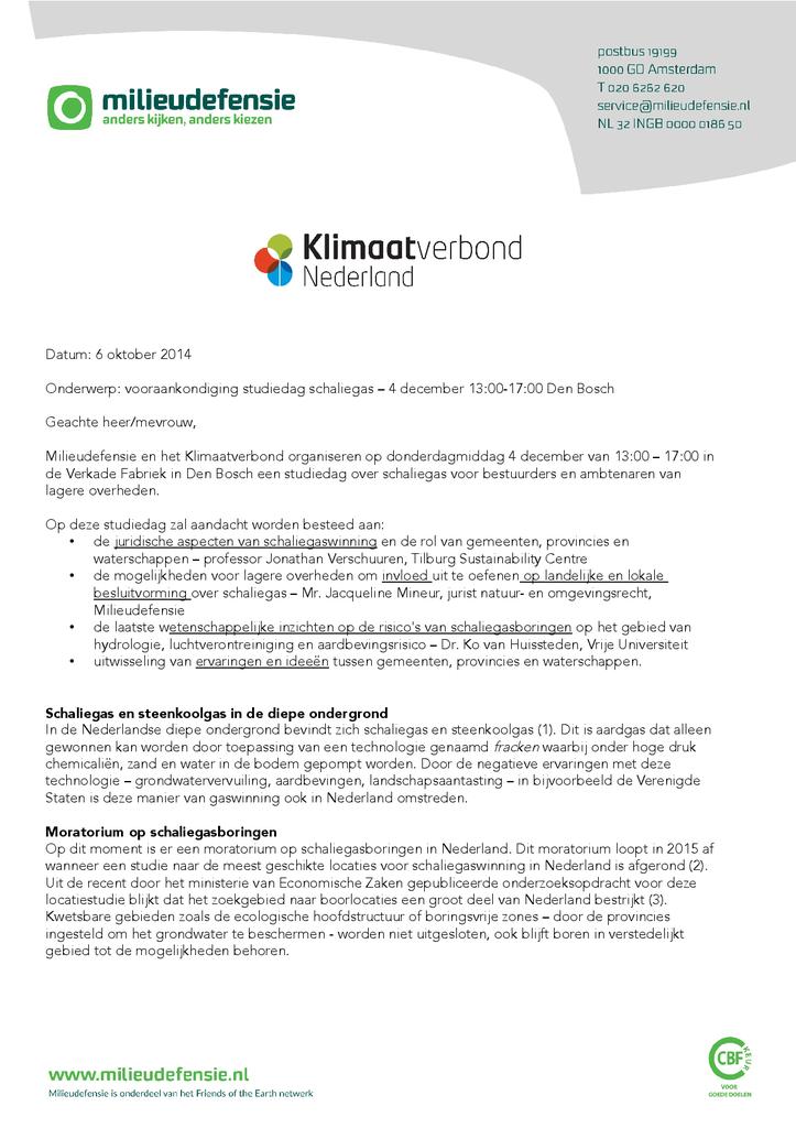 Voorbeeld van de eerste pagina van publicatie 'Brief vooraankondiging schaliegasstudiedag'