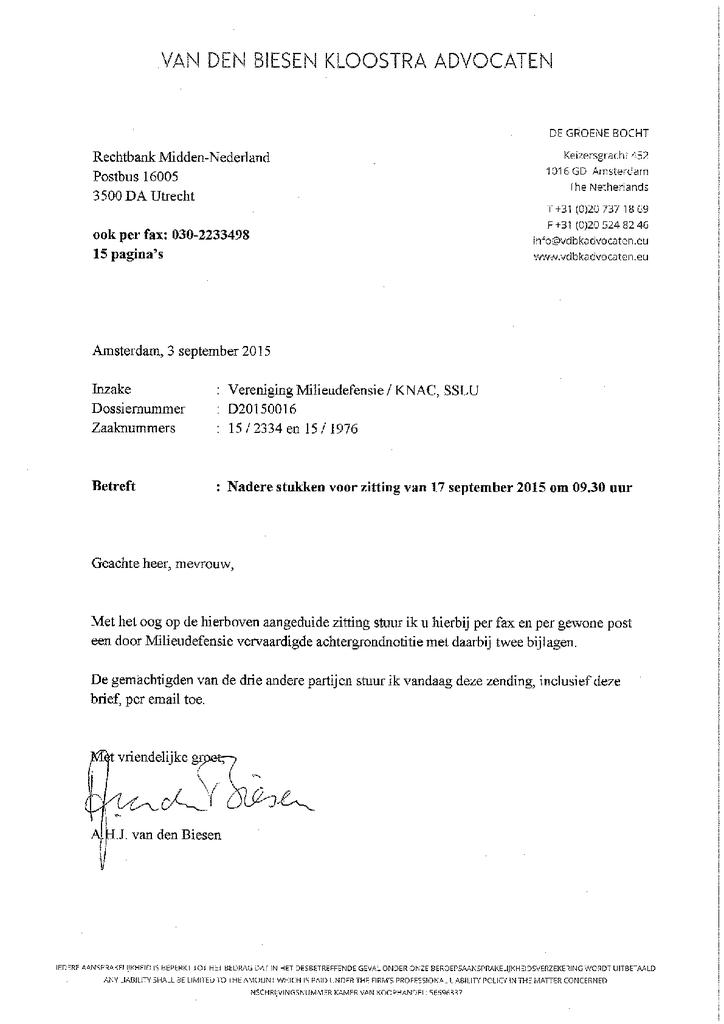 Voorbeeld van de eerste pagina van publicatie 'Brief aan rechtbank Utrecht om milieuzone te onderbouwen'