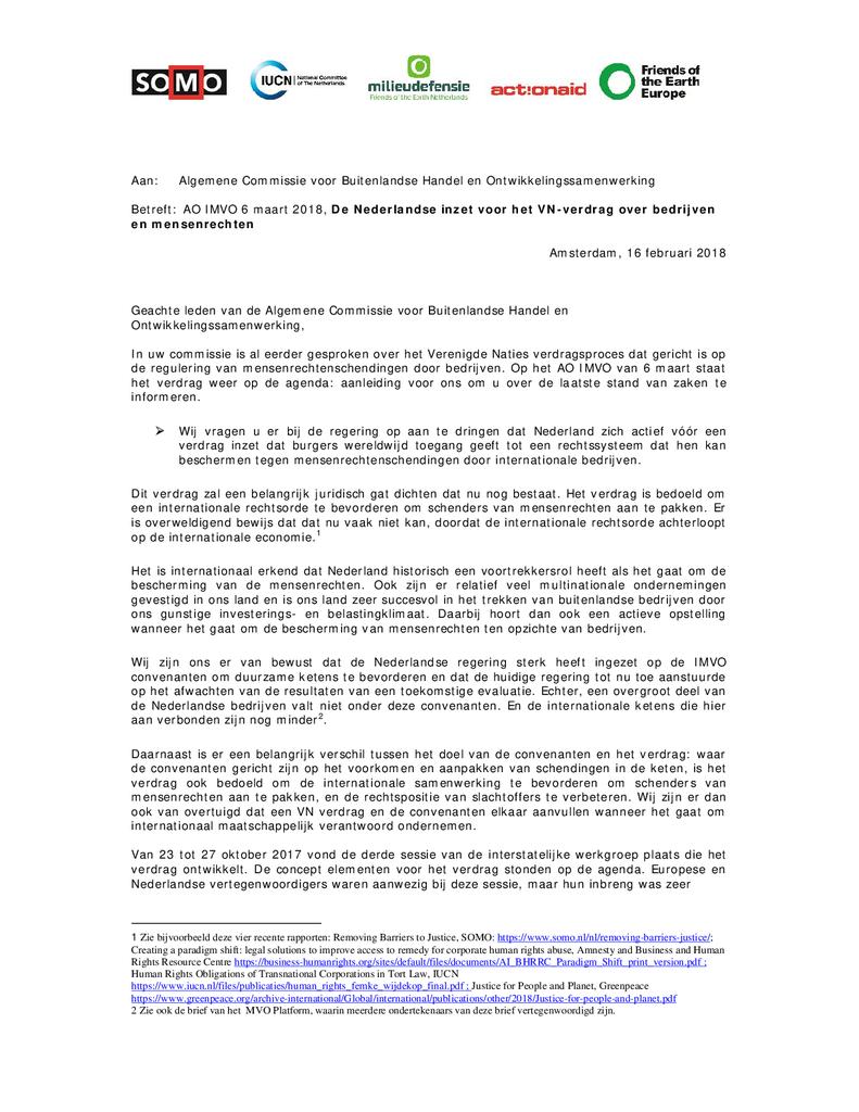 Voorbeeld van de eerste pagina van publicatie 'Brief Algemeen Overleg IMVO 6 maart 2018'