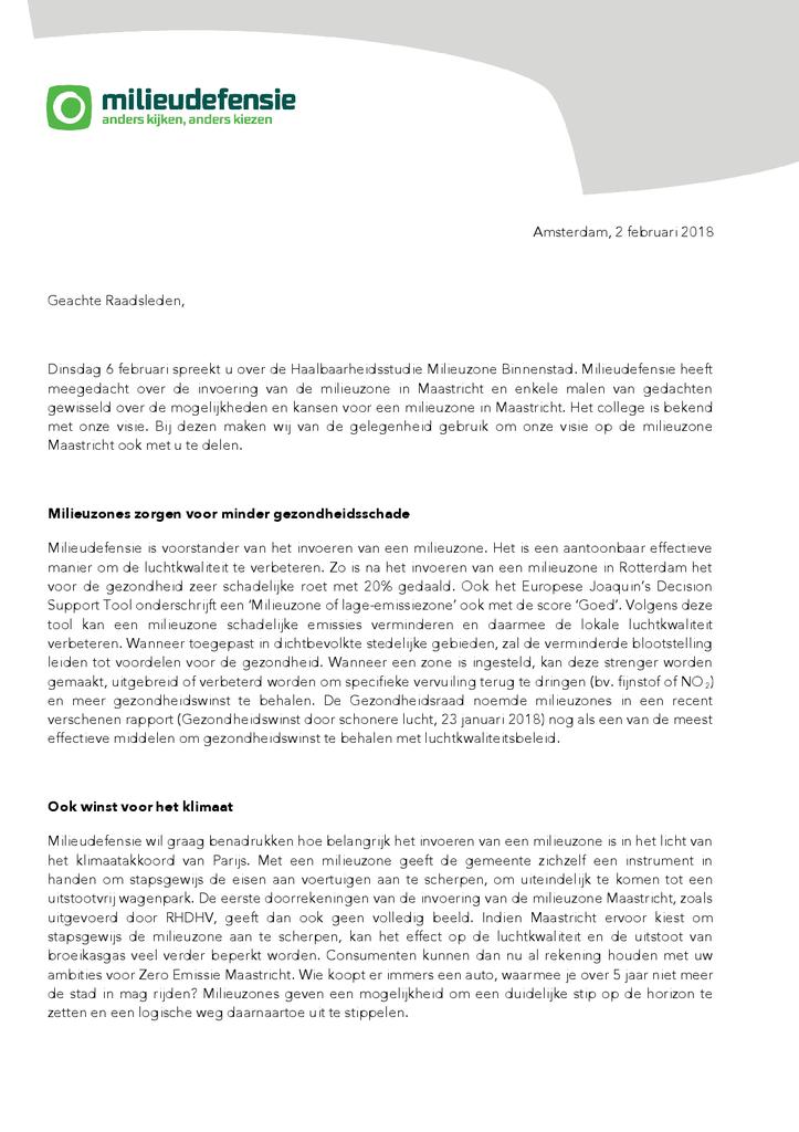 Voorbeeld van de eerste pagina van publicatie 'Brief milieuzone Maastricht'