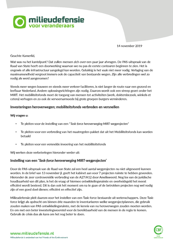 Voorbeeld van de eerste pagina van publicatie 'Brief voor taskforce heroverweging infraprojecten en versnellen en verbreden mobiliteitsfonds'