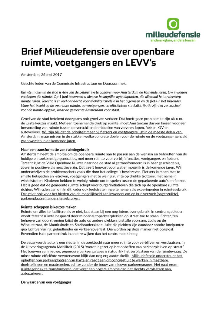 Voorbeeld van de eerste pagina van publicatie 'Brief over openbare ruimte, voetgangers en LEVVs'