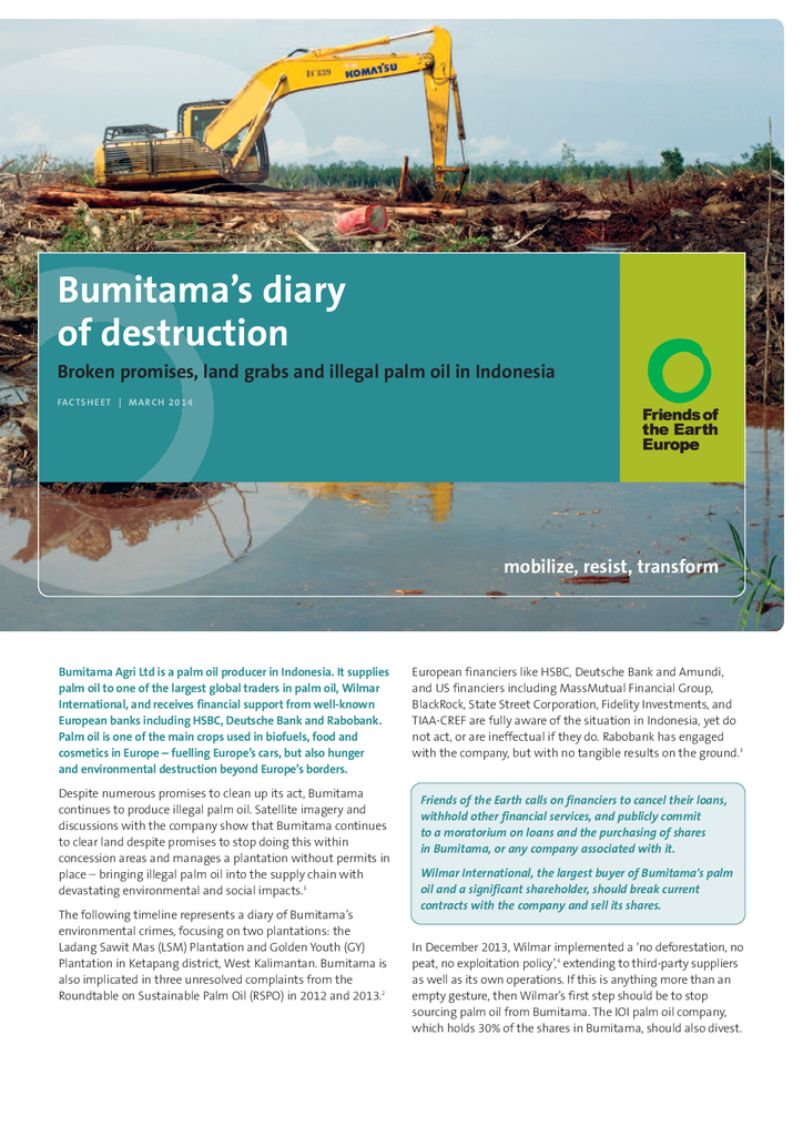 Voorbeeld van de eerste pagina van publicatie 'Bumitama diary of destruction: land grabs and illegal palm oil'