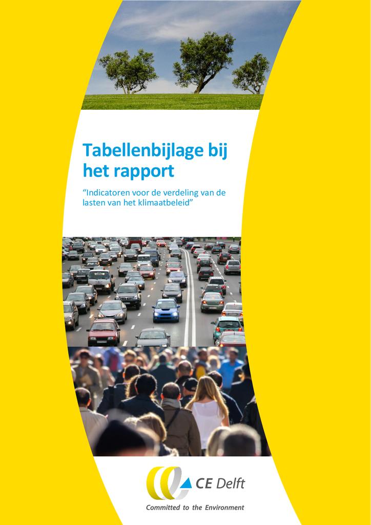 """Voorbeeld van de eerste pagina van publicatie 'Tabellenbijlage bij  het rapport  """"Indicatoren voor de verdeling van de  lasten van het klimaatbeleid""""'"""