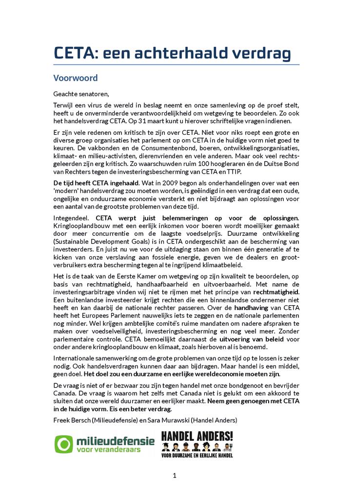 Voorbeeld van de eerste pagina van publicatie 'CETA: een achterhaald verdrag'