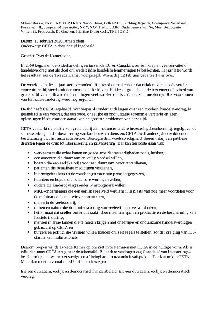 Voorbeeld van de eerste pagina van publicatie 'Brief: CETA is door de tijd ingehaald'