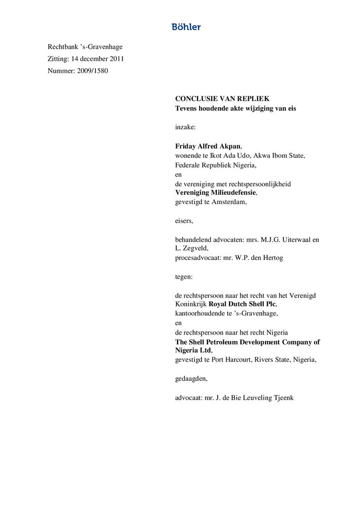 Voorbeeld van de eerste pagina van publicatie 'Afsluitende conclusie van repliek Ikot Ada Udo'
