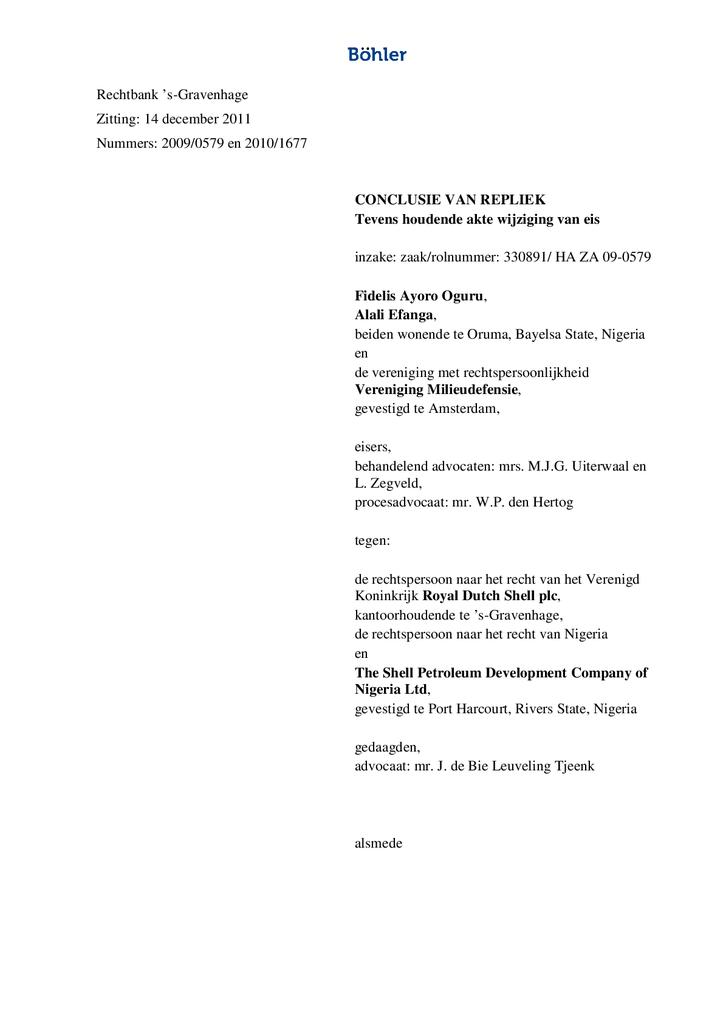 Voorbeeld van de eerste pagina van publicatie 'Afsluitende conclusies van repliek Oruma'