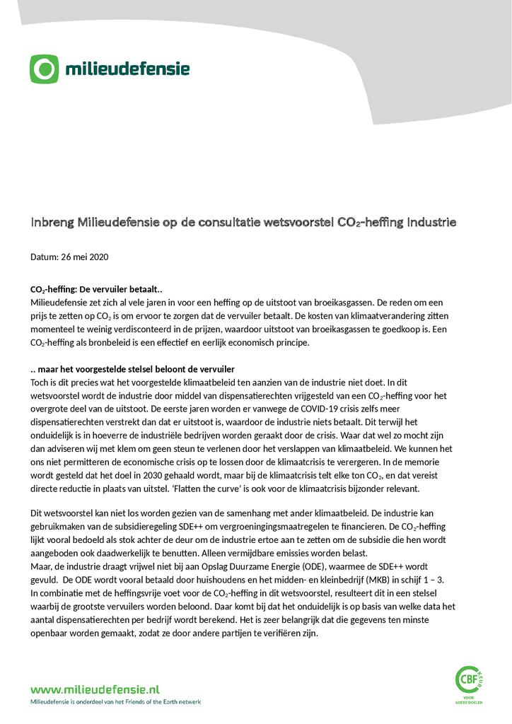 Voorbeeld van de eerste pagina van publicatie 'Inbreng van Milieudefensie op de consultatie van het wetsvoorstel voor een CO2-heffing'