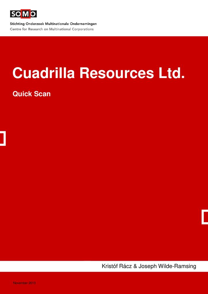 Voorbeeld van de eerste pagina van publicatie 'Quickscan schaliegasbedrijf Cuadrilla'