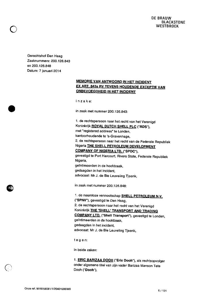Voorbeeld van de eerste pagina van publicatie 'CvA van Shell op exhibitieverzoek, tevens exceptie onbevoegdheid t.b.v. Goi'