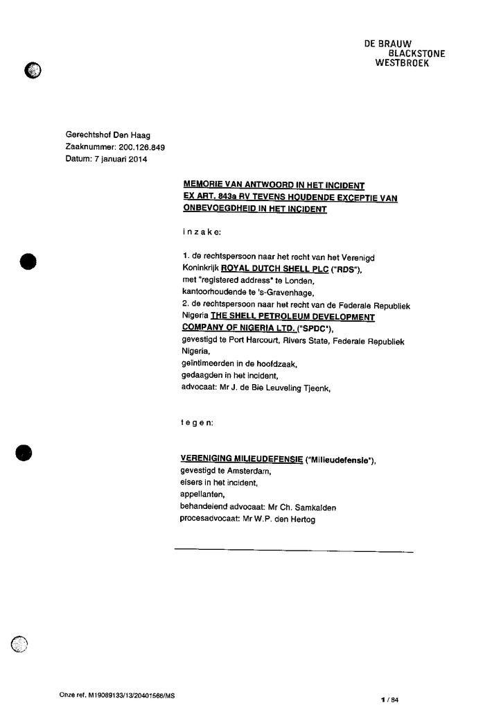 Voorbeeld van de eerste pagina van publicatie 'CvA van Shell op exhibitieverzoek, tevens exceptie onbevoegdheid t.b.v. Ikot Ada Udo'