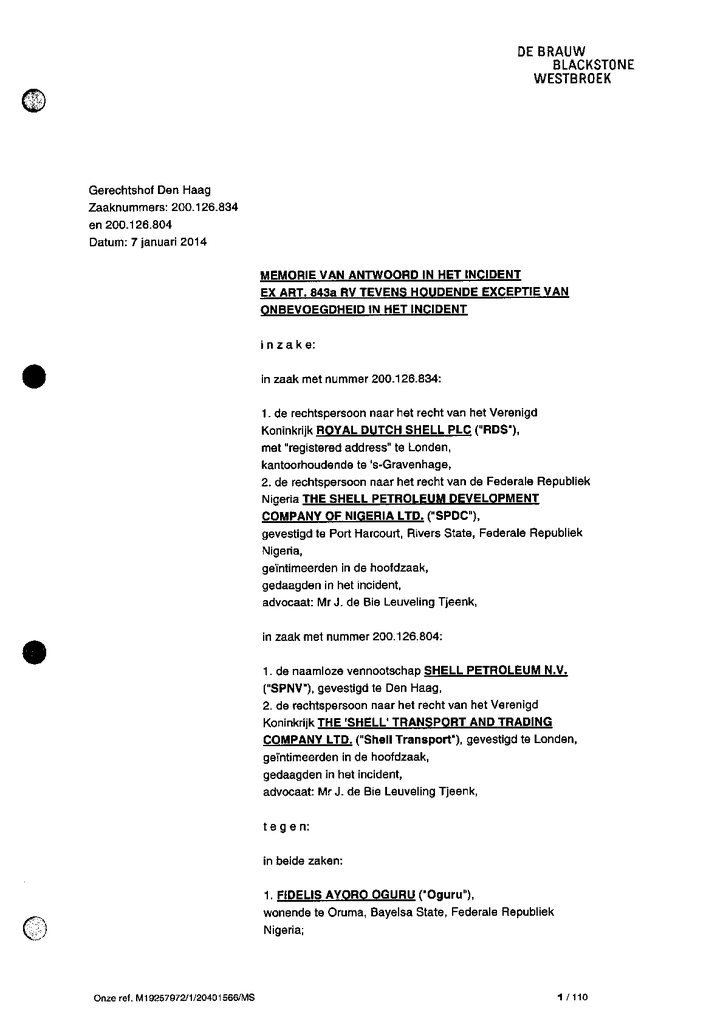 Voorbeeld van de eerste pagina van publicatie 'CvA van Shell op exhibitieverzoek, tevens exceptie onbevoegdheid t.b.v. Oruma'