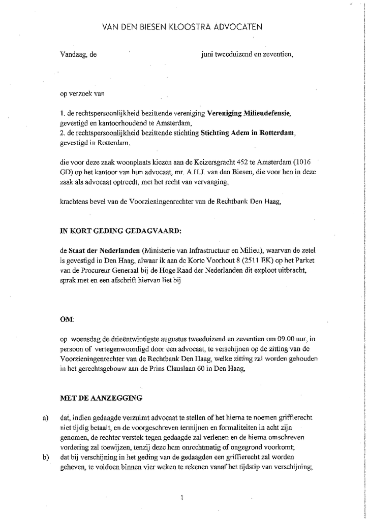 Voorbeeld van de eerste pagina van publicatie 'Dagvaarding kort geding voor gezonde lucht'