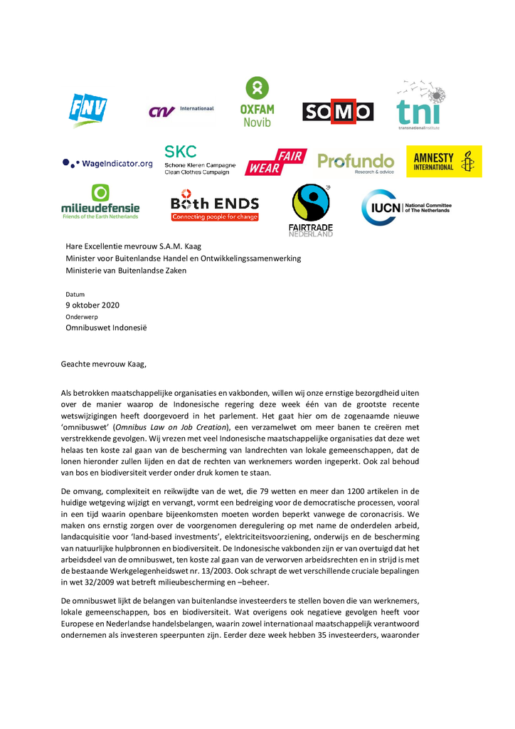 Voorbeeld van de eerste pagina van publicatie 'Brief aan minsister Kaag over Indonesische Omnibuswet'