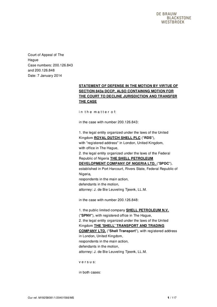 Voorbeeld van de eerste pagina van publicatie 'Shell courtcase: Defense in motion to produce documents Goi'