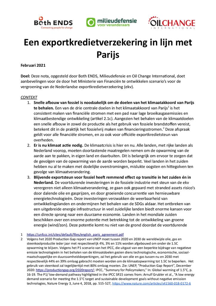 Voorbeeld van de eerste pagina van publicatie 'Nota: een exportkredietverzekering in lijn met Parijs'