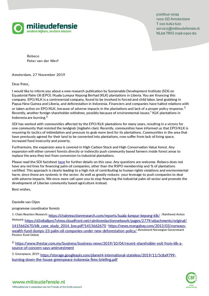 Voorbeeld van de eerste pagina van publicatie 'Brief aan Robeco over hun investeringen in palmolieplantages'