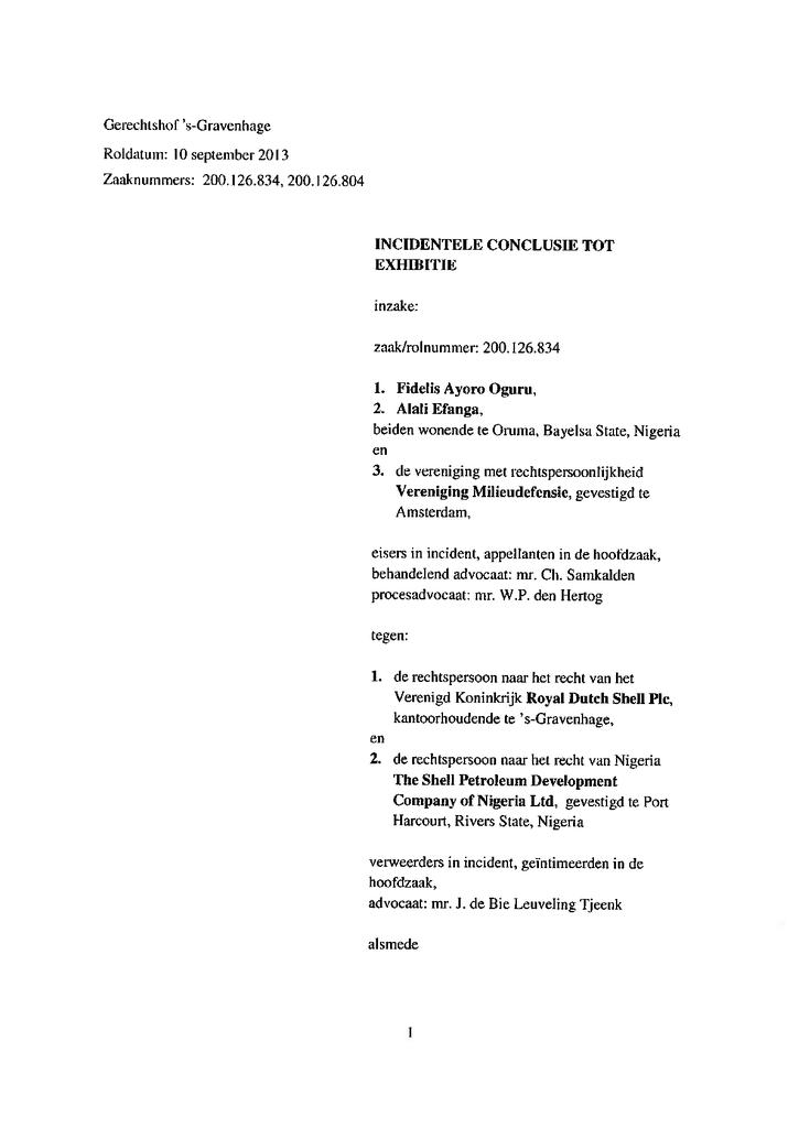 Voorbeeld van de eerste pagina van publicatie 'Shell Rechtszaak - Exhibitievordering Oruma'