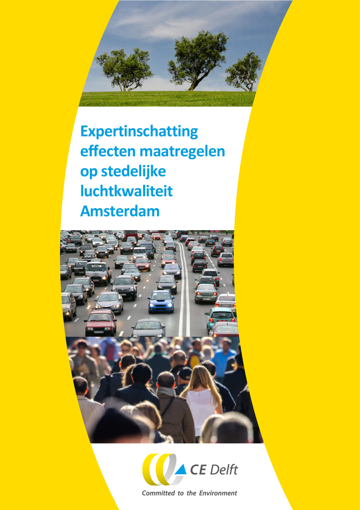Voorbeeld van de eerste pagina van publicatie 'Onderzoek CE Delft: Expertinschatting effecten maatregelen op stedelijke luchtkwaliteit'