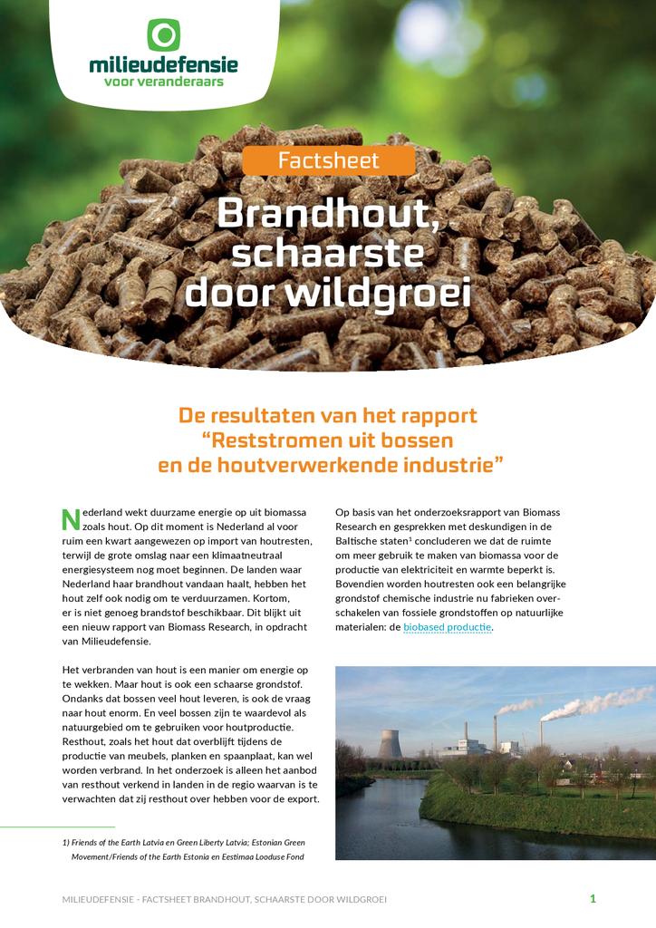 Voorbeeld van de eerste pagina van publicatie 'Factsheet: Brandhout, schaarste door wildgroei'