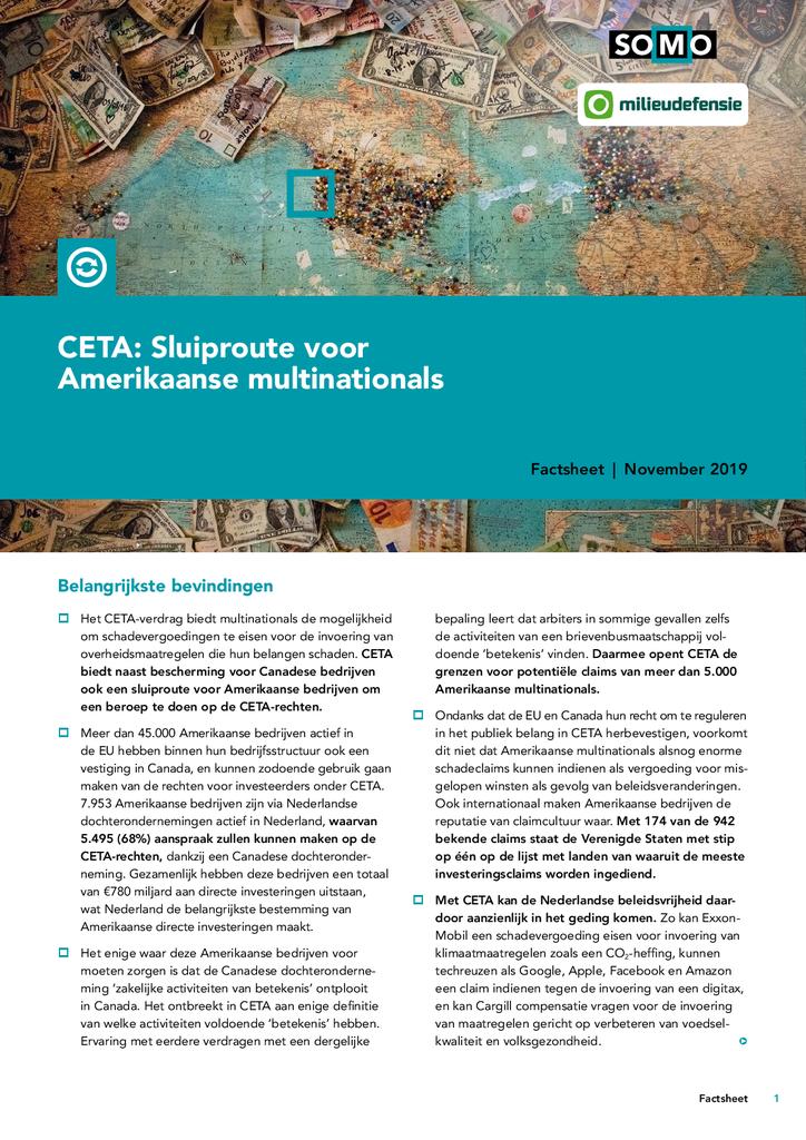 Voorbeeld van de eerste pagina van publicatie 'CETA: sluiproute voor Amerikaanse multinationals'