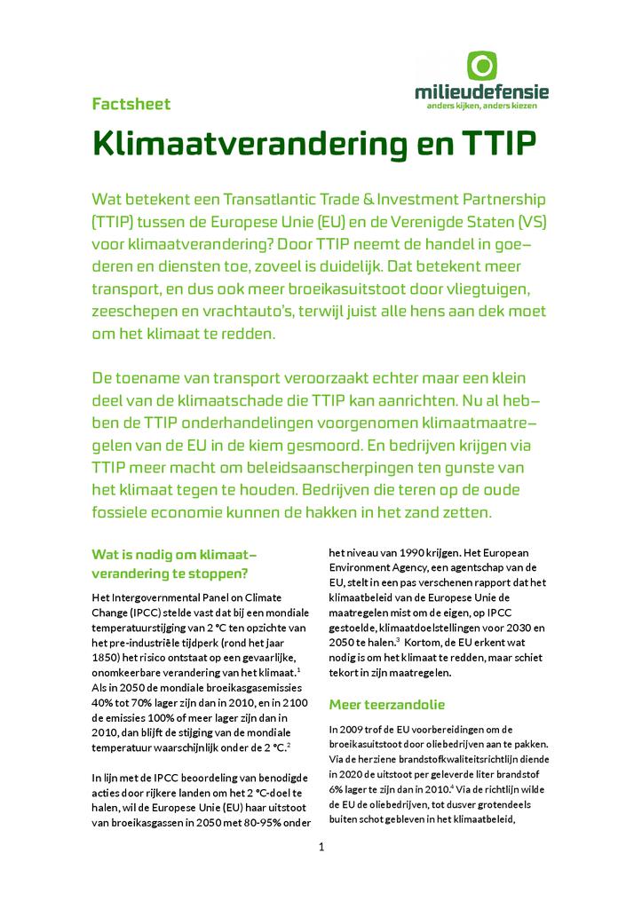 Voorbeeld van de eerste pagina van publicatie 'Wat betekent TTIP voor klimaatverandering?'