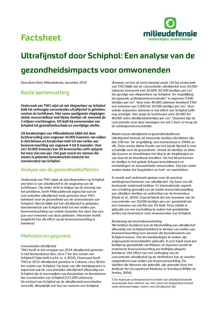 Voorbeeld van de eerste pagina van publicatie 'Factsheet: Gevolgen van ultrafijnstof Schiphol voor omwonenden'