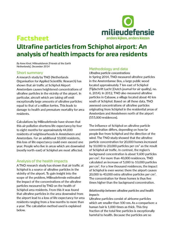 Voorbeeld van de eerste pagina van publicatie 'Factsheet (NL en Engels) over de gevolgen van ultrafijn stof van Schiphol voor de gezondheid van omwoneneden'