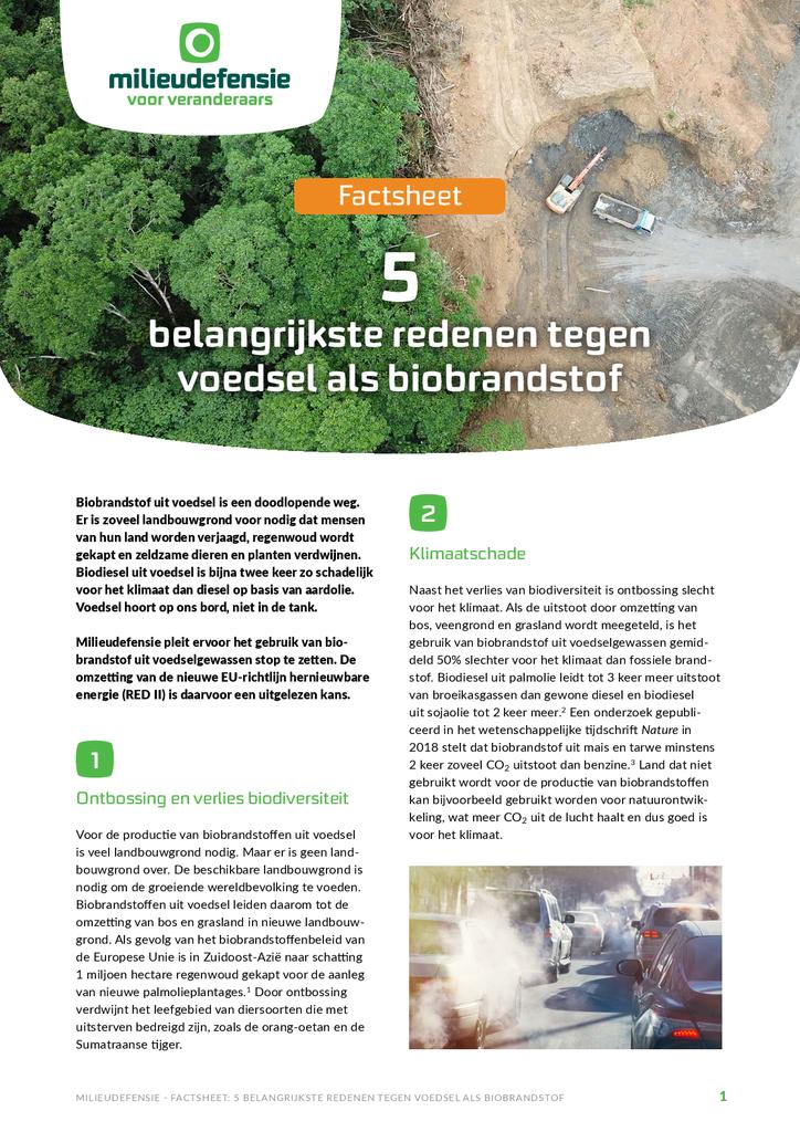 Voorbeeld van de eerste pagina van publicatie 'Factsheet:  de 5 belangrijkste redenen tegen voedsel als biobrandstof'