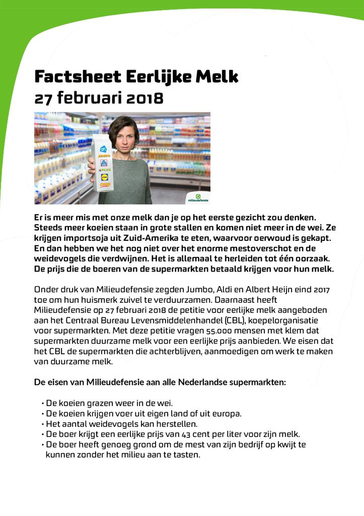 Voorbeeld van de eerste pagina van publicatie 'Factsheet Eerlijke Melk campagne'