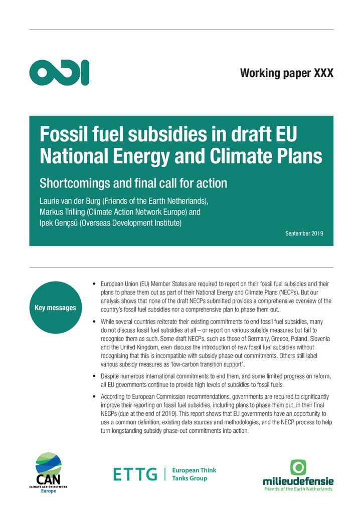 Voorbeeld van de eerste pagina van publicatie 'Fossiele brandstoffensubsidies in de nationale energie- en klimaatplannen'