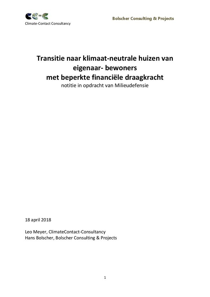 Voorbeeld van de eerste pagina van publicatie 'Notitie: gasvrij wonen met een kleine portemonnee'