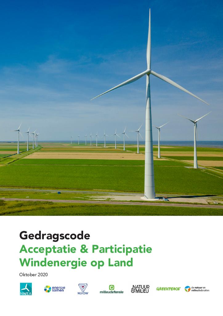 Voorbeeld van de eerste pagina van publicatie 'Gedragscode Acceptatie & Participatie Windenergie op Land'