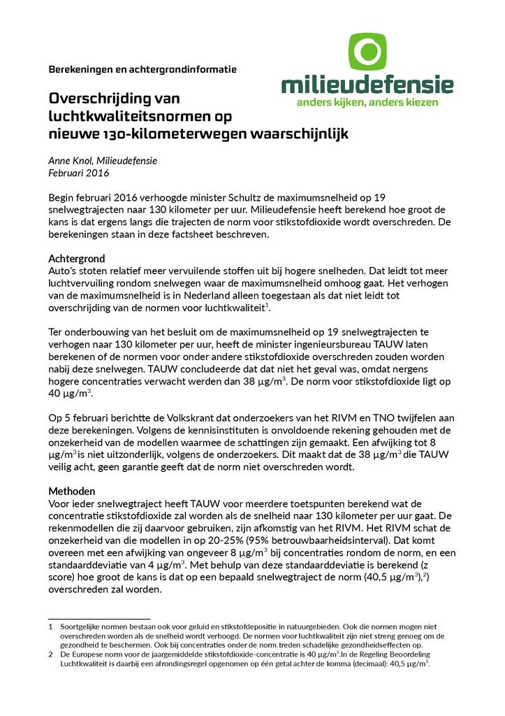 Voorbeeld van de eerste pagina van publicatie 'Gevolgen van 130 km/u voor uitstoot van stikstofdioxide'
