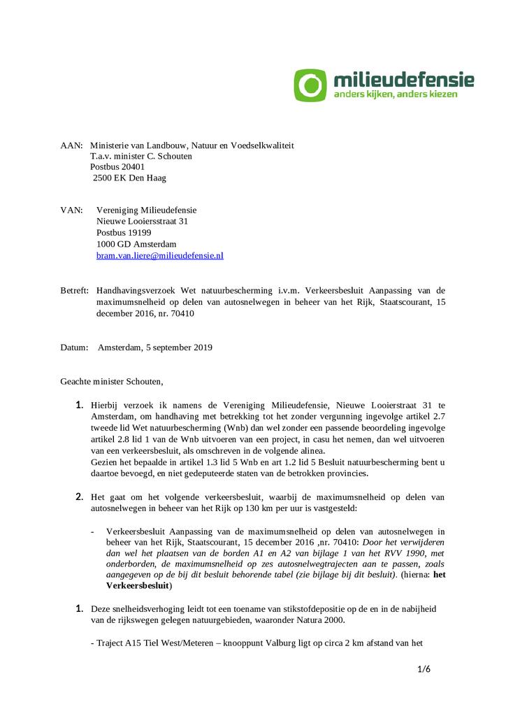 Voorbeeld van de eerste pagina van publicatie 'Handhavingsverzoek: 130 km per uur is in strijd met de wet'