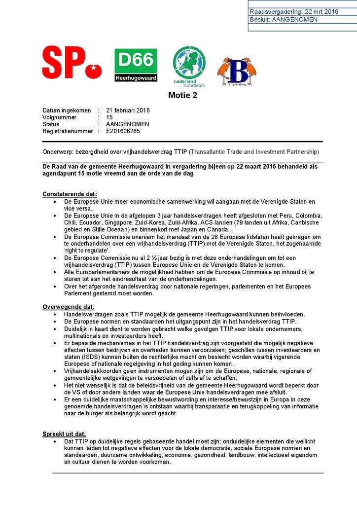 Voorbeeld van de eerste pagina van publicatie 'Motie TTIP Heerhugowaard'